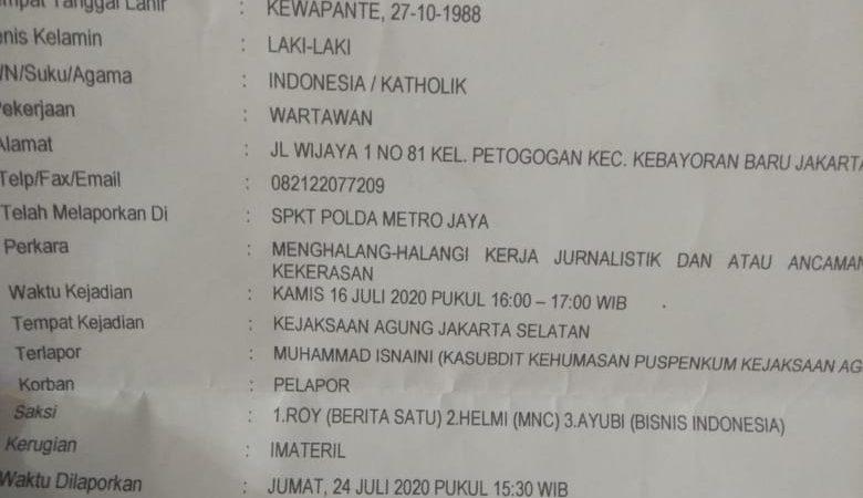 Dinilai Berlaku Kasar, Pejabat Kejagung Dipolisikan Wartawan