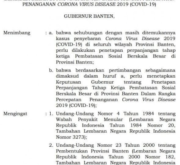 Gubernur Wahidin Perpanjang PSBB Provinsi Banten Tahap III