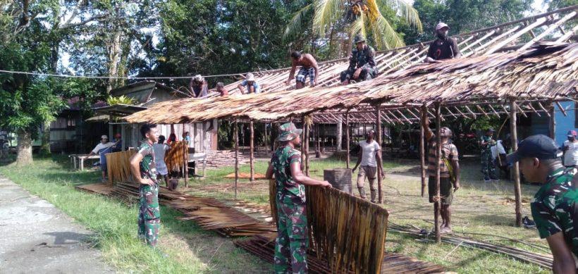 Satgas Yonif RK 751/VJS Bangun Pondok Peresmian Gereja 1